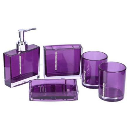 accessoire salle de bain violet