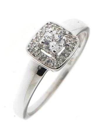 bague zirconium or blanc