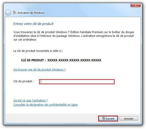 clé windows 7
