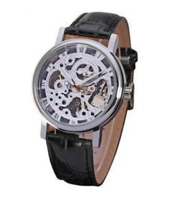 montre homme automatique squelette bracelet cuir