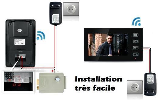 portier video sans fil avec gache electrique