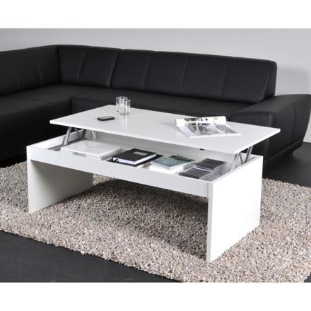 table basse plateau relevable blanc