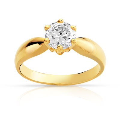 bague solitaire or jaune