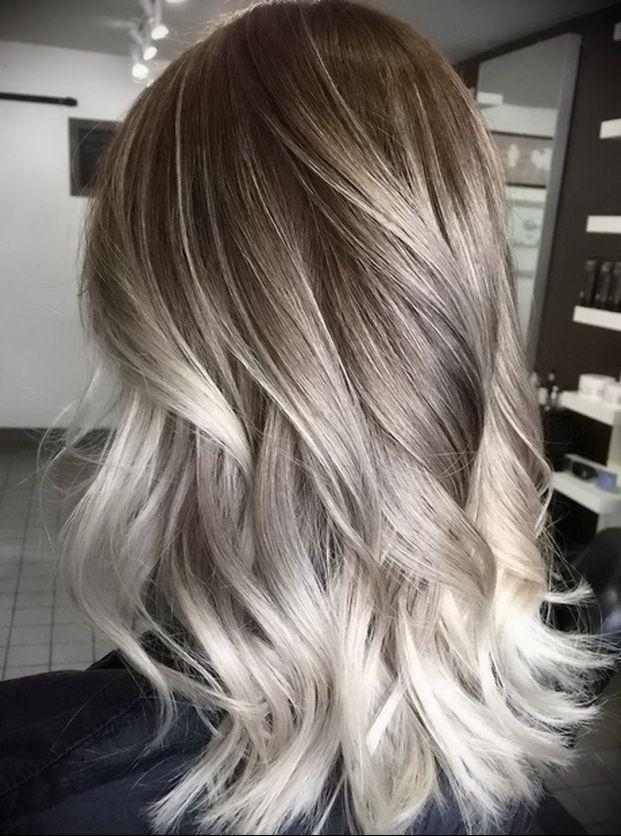 balayage blond platine
