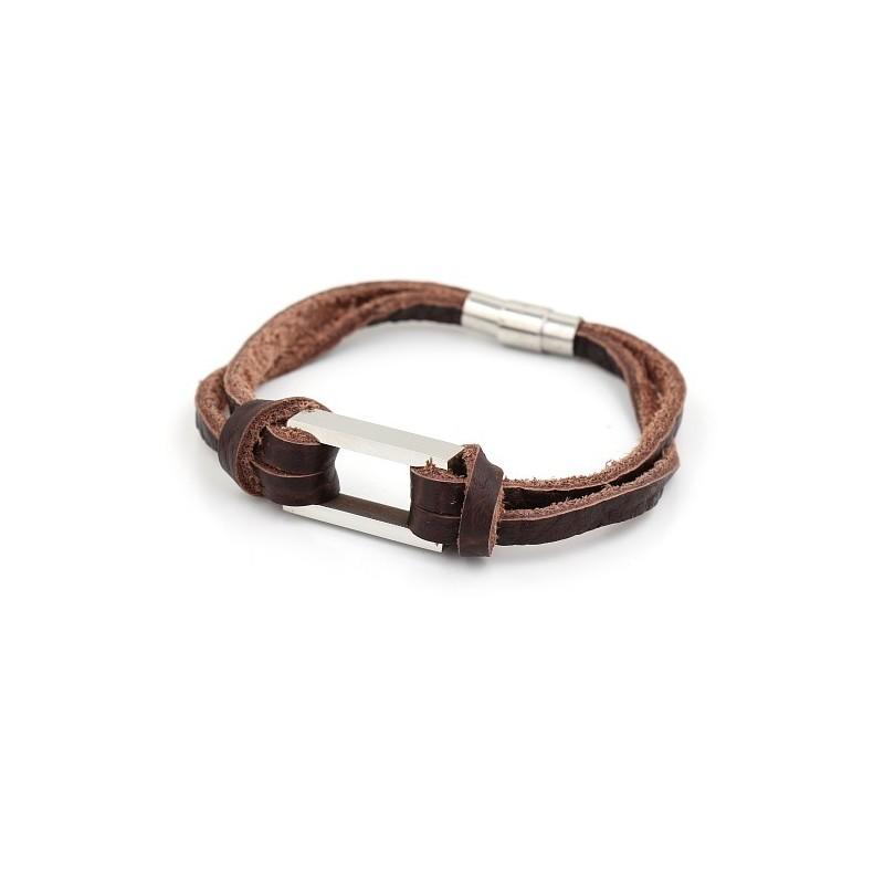 bracelet cuir marron homme