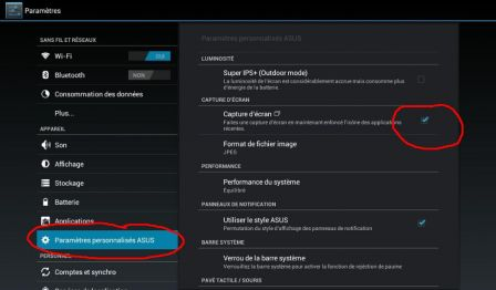 capture ecran tablette asus
