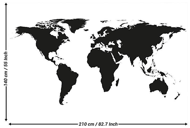 carte du monde en noire et blanc