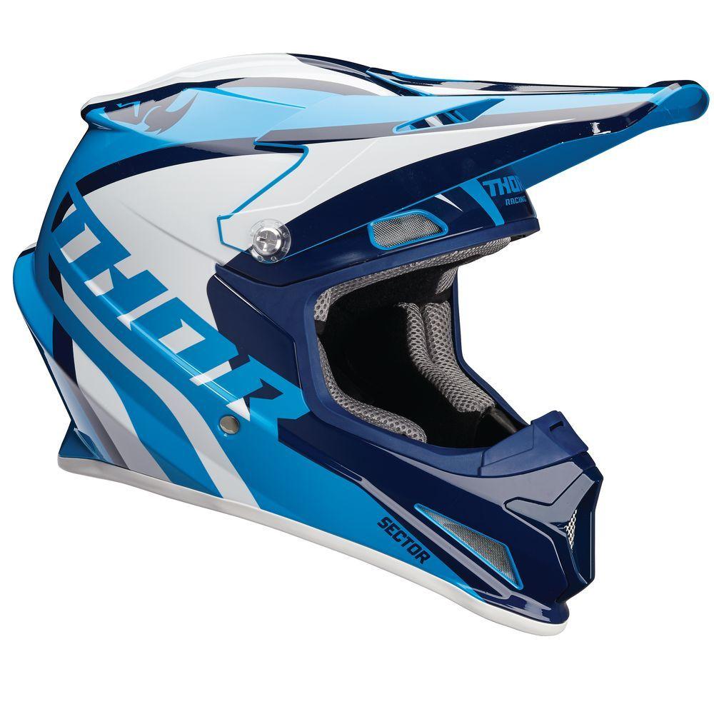 casque moto cross bleu et blanc