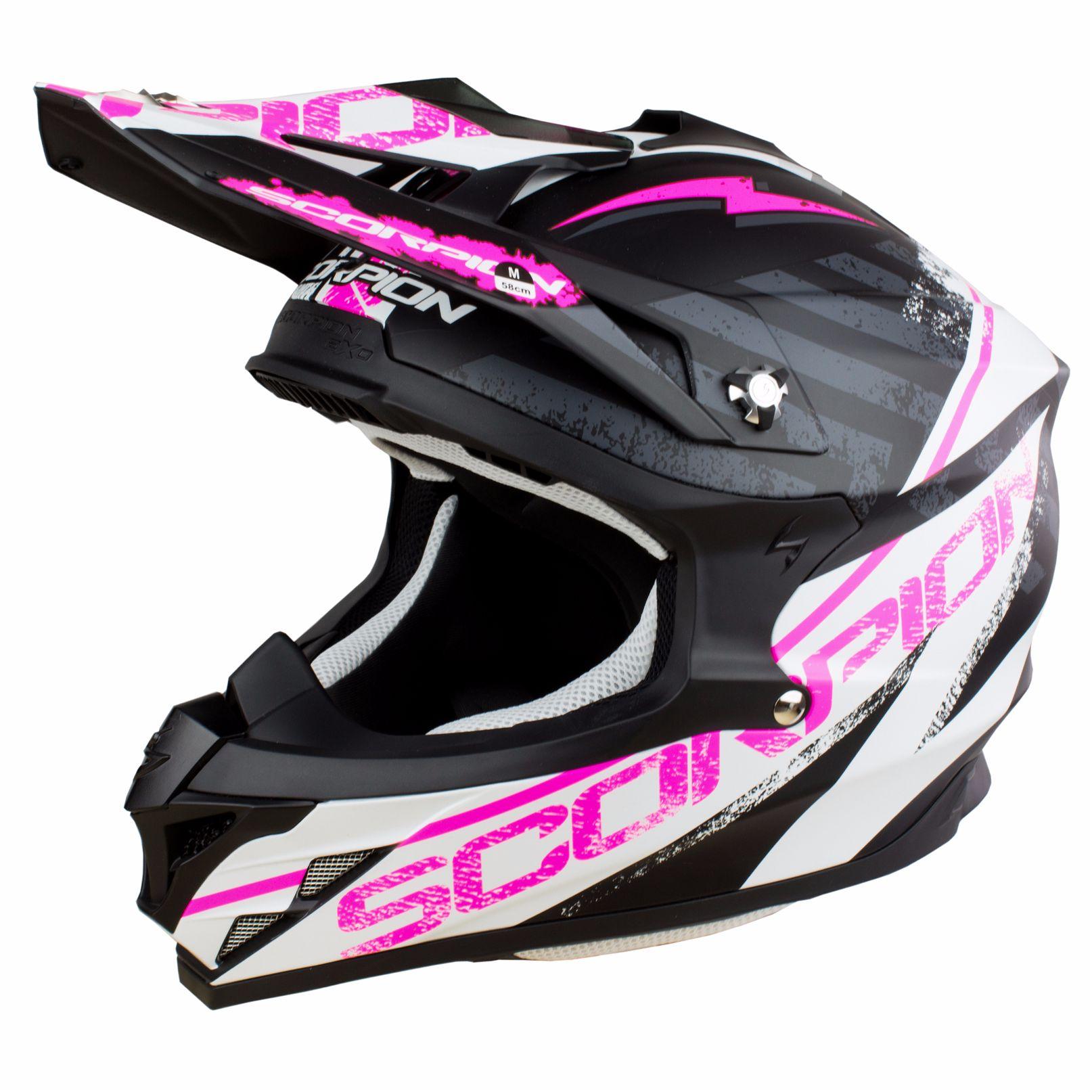 casque moto cross rose