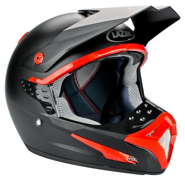 casque moto noir et rouge