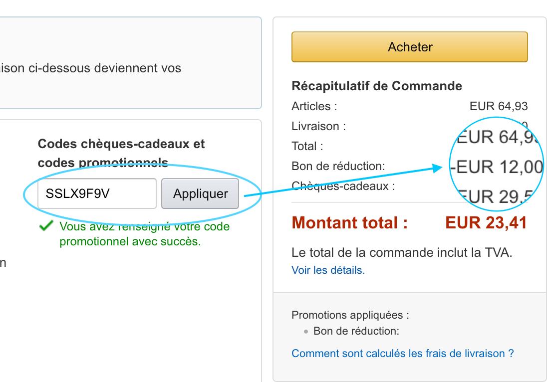 code reduction livraison amazon