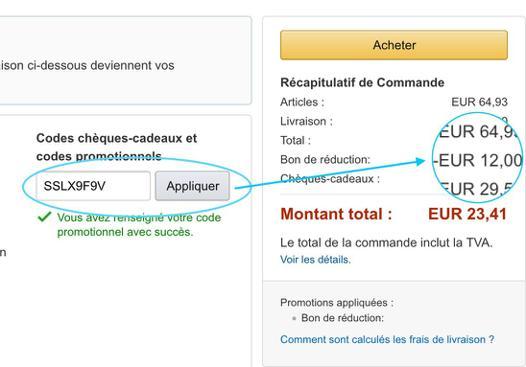 code reduction sur amazon