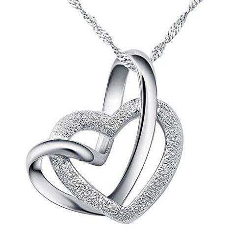 collier argent femme coeur