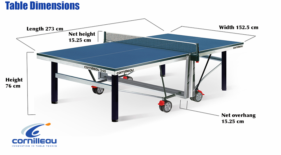 dimension table de ping pong cornilleau