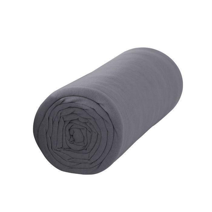 drap housse gris 140x190