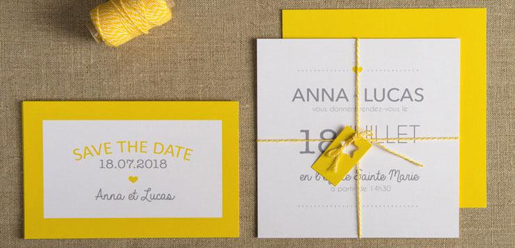 faire part mariage jaune