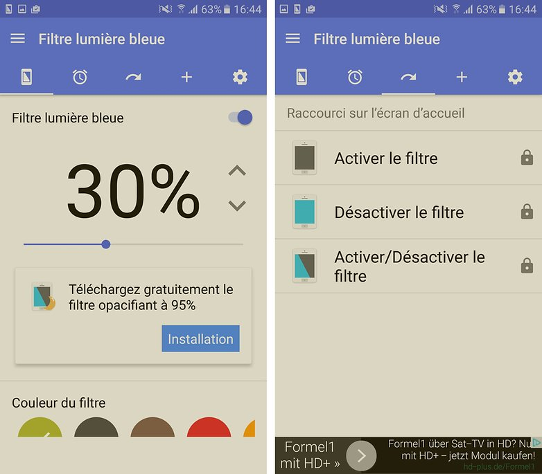 filtre de lumiere bleu samsung