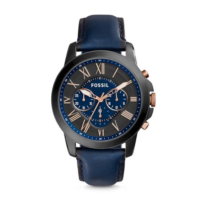 fossil montre homme bleu