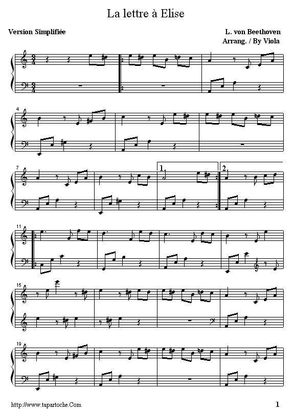 lettre a elise piano facile