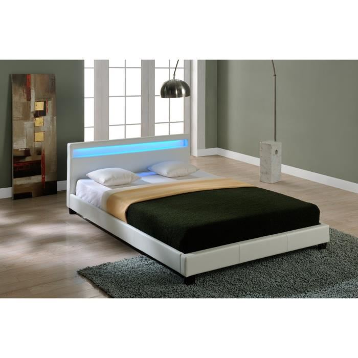 lit blanc avec led