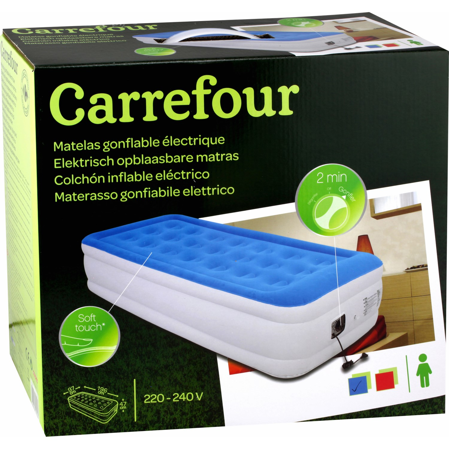matelas gonflable 1 personne carrefour