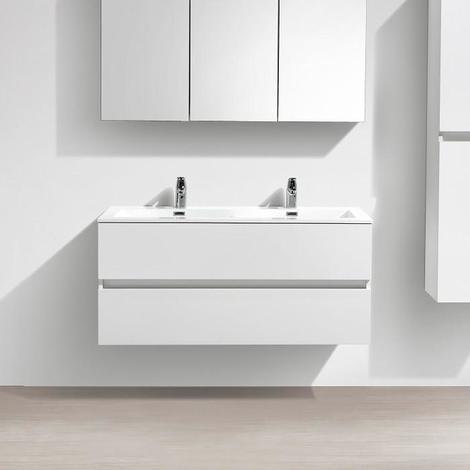 meuble salle de bain blanc laqué