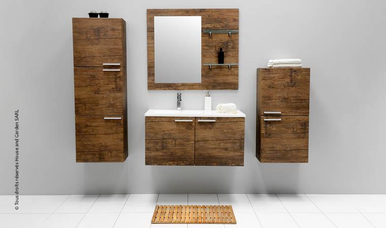 meuble salle de bain bois suspendu