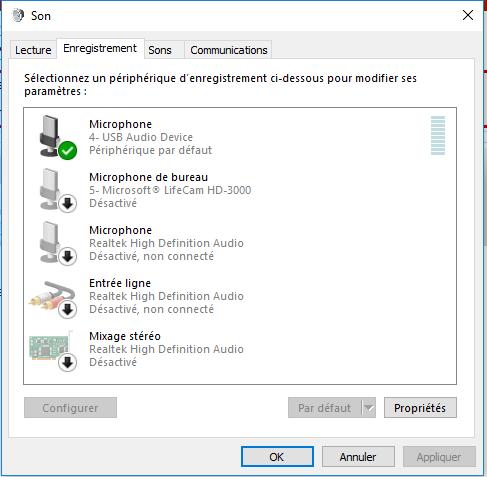 microphone non connecté windows 10