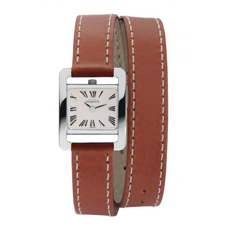 montre femme double bracelet cuir marron