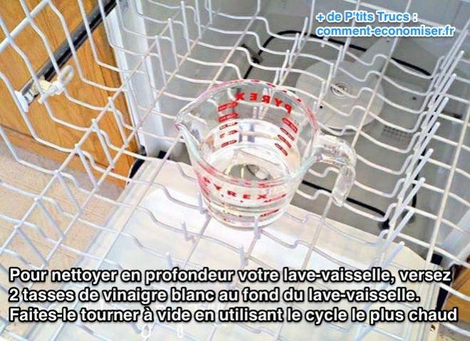 nettoyer lave vaisselle vinaigre blanc