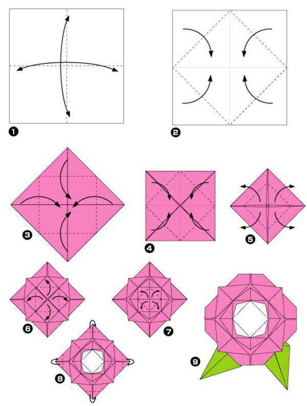 origami facile rose