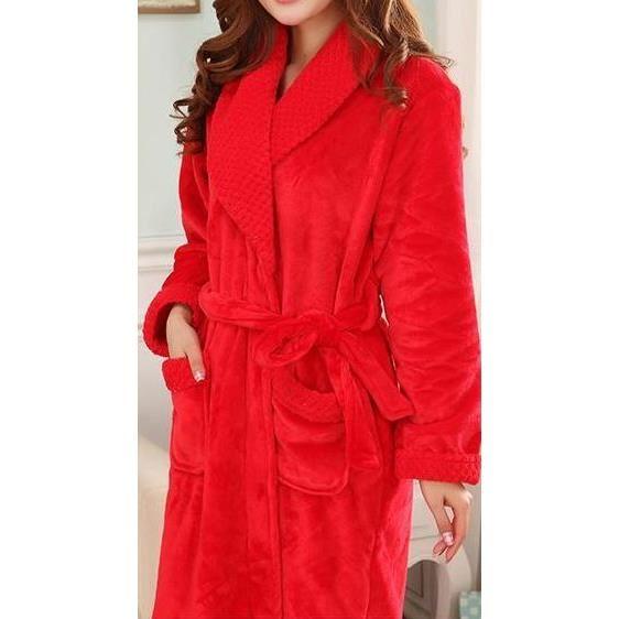 peignoir de bain femme rouge