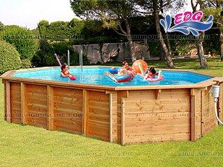 piscine hors sol ovale bois