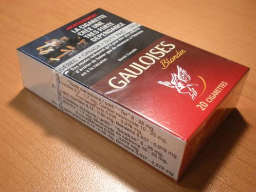 poids d'un paquet de cigarette