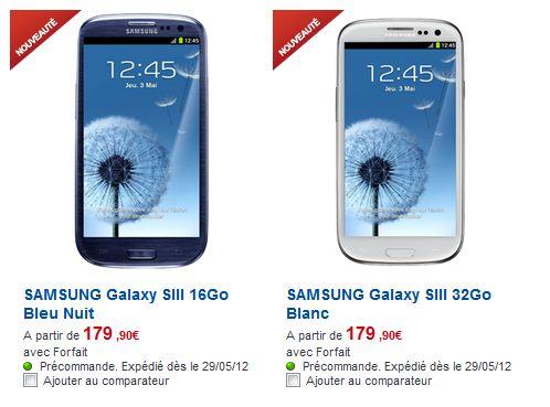 prix du samsung galaxy s3