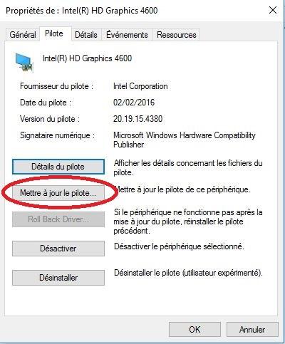 problème carte graphique windows 10