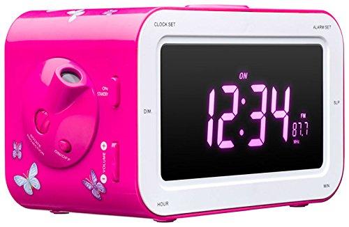 radio reveil rose fille