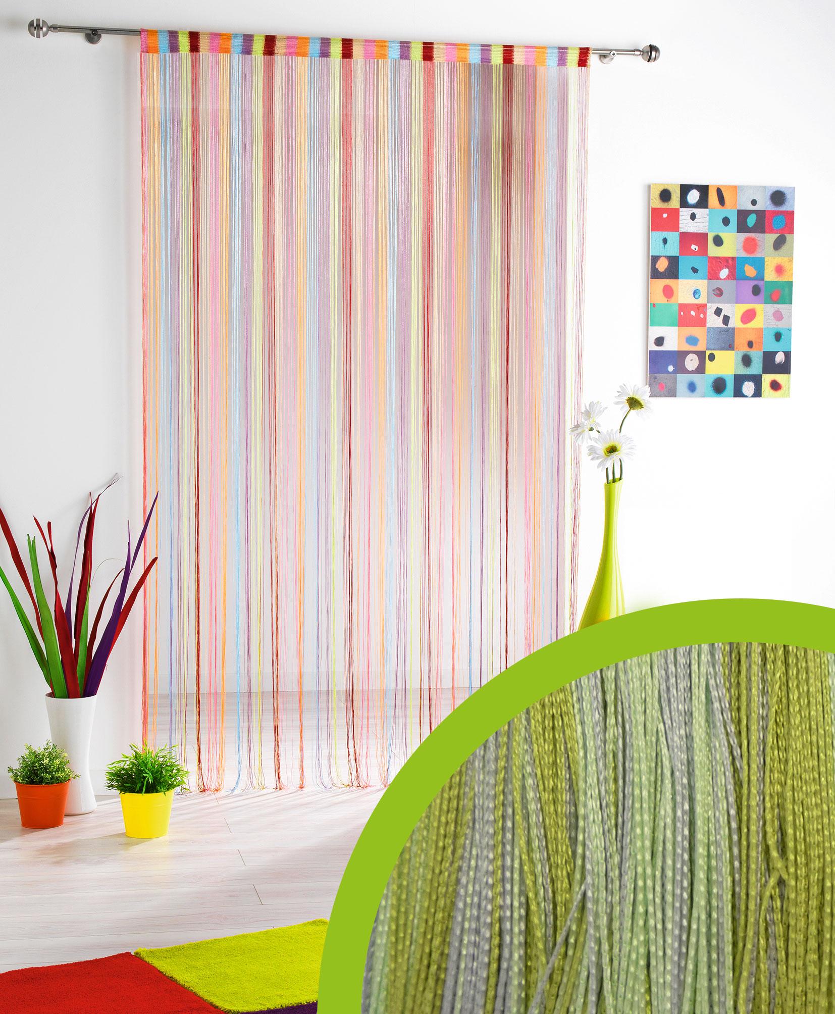 rideau fil multicolore