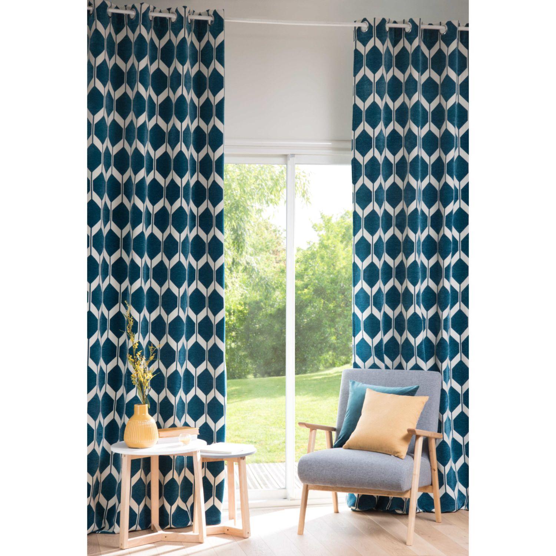 rideau motif bleu