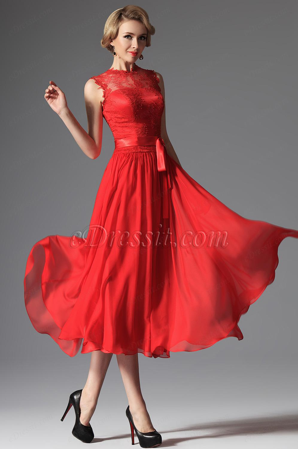 robe de cocktail rouge pas cher