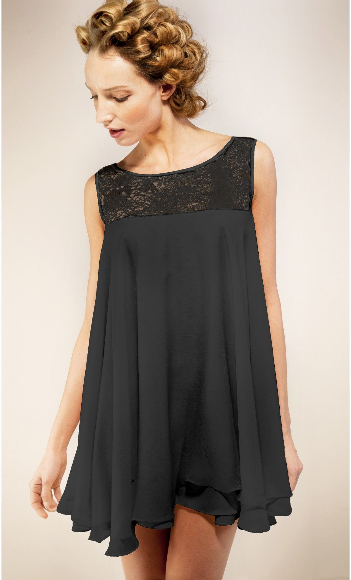 robe sans manche dentelle