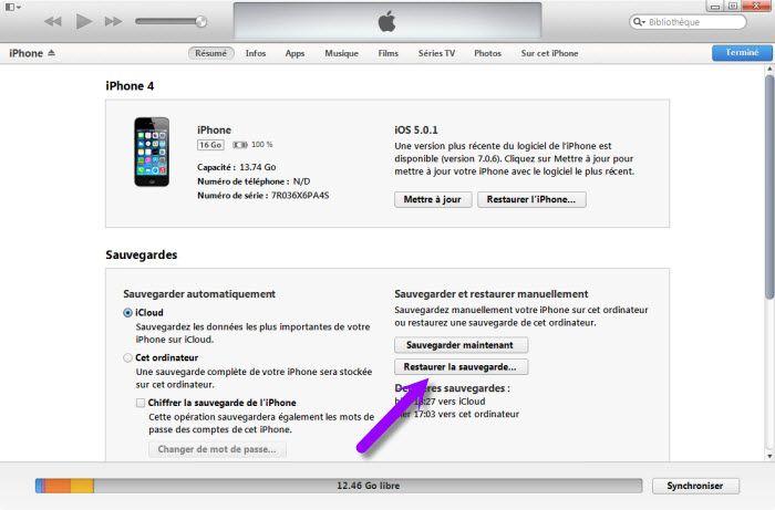 sauvegarde iphone 5s sur pc