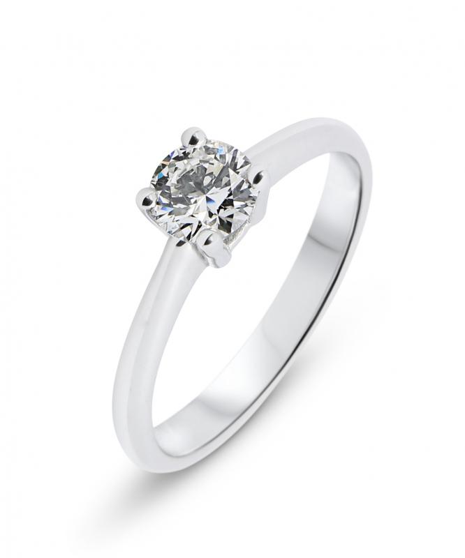 solitaire en diamant or blanc