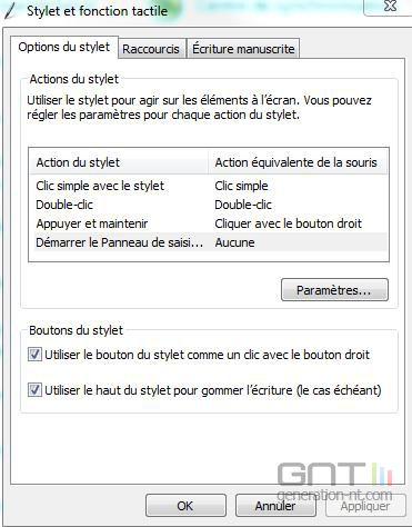 stylet et fonction tactile windows 7