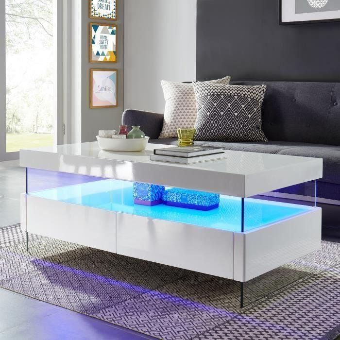 table basse blanc laqué led