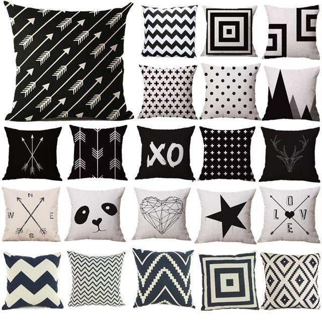taie d'oreiller noir et blanc