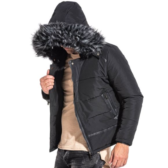veste avec capuche fourrure homme